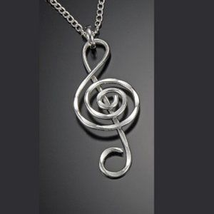 Treble Clef Hammered Silver Necklace